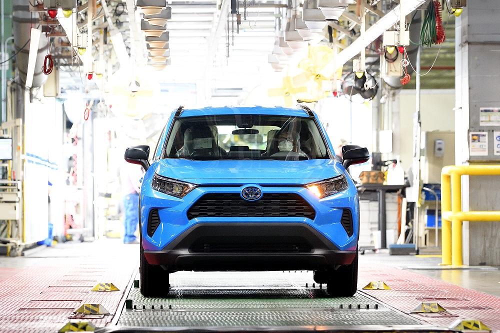 TMMK's 13th million vehicle, a Toyota RAV4 Hybrid, rolling off the assembly line