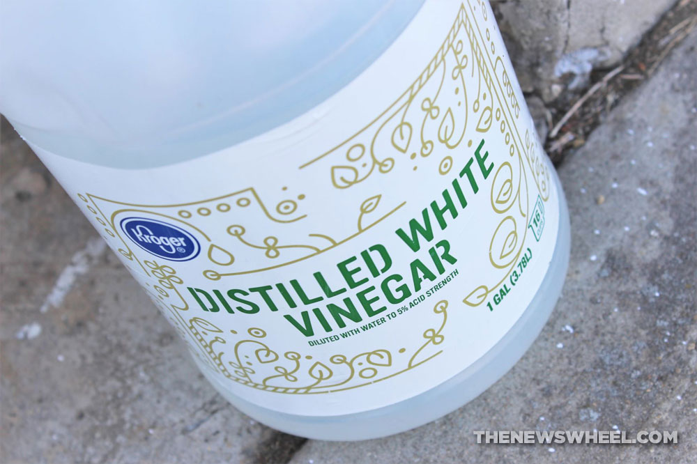 large white vinegar bottle on pavement