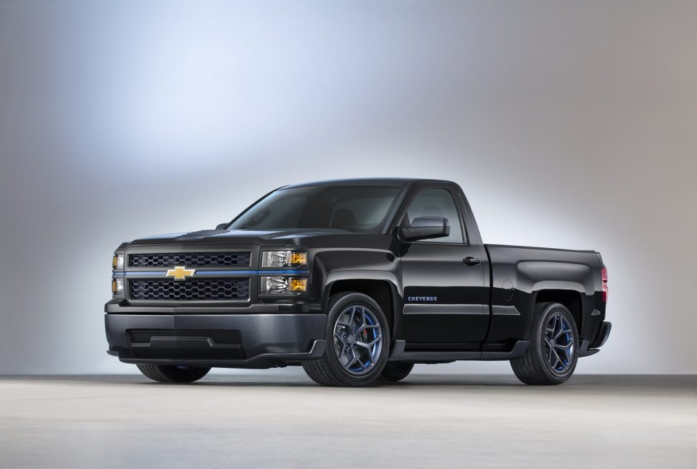 Front side view of 2013 Chevrolet Silverado Cheyenne Concept truck