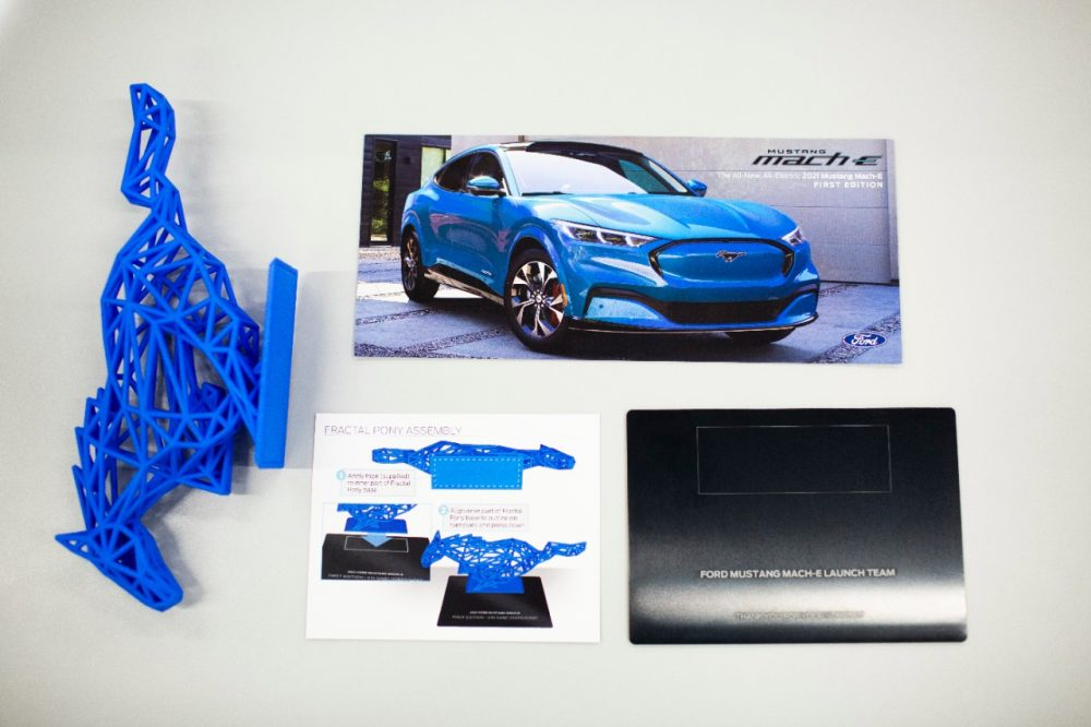 The kit that comes with Mustang Mach-E First Edition EVs, including a 3D-printed pony sculpture