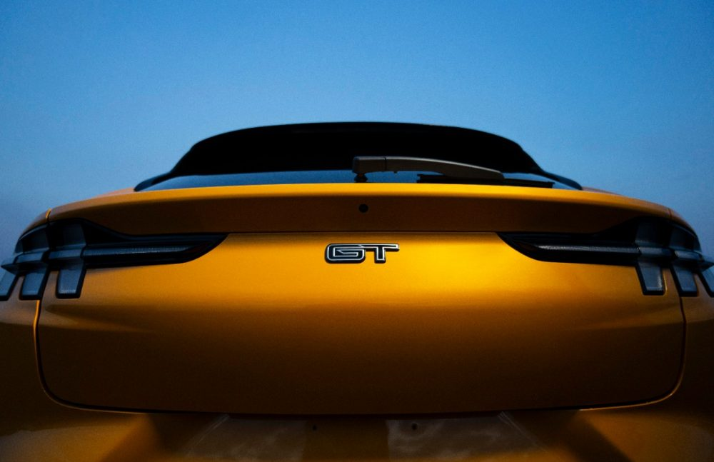 2021 Ford Mustang Mach-E GT in Cyber Orange rear hatch closeup