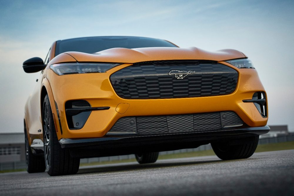 2021 Ford Mustang Mach-E GT in Cyber Orange grille closeup