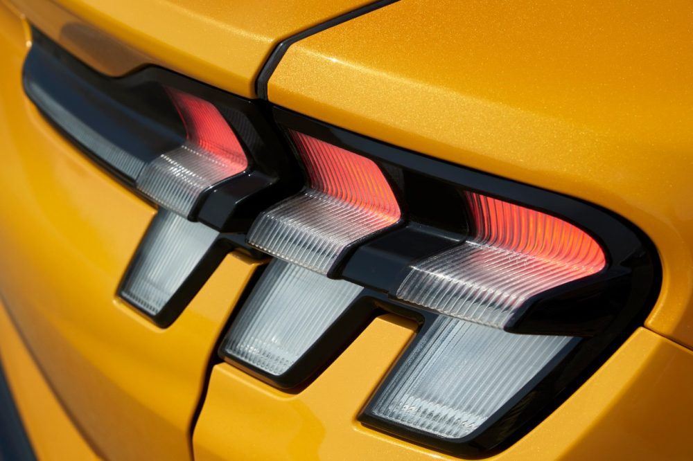 2021 Ford Mustang Mach-E GT in Cyber Orange tri-bar taillamps