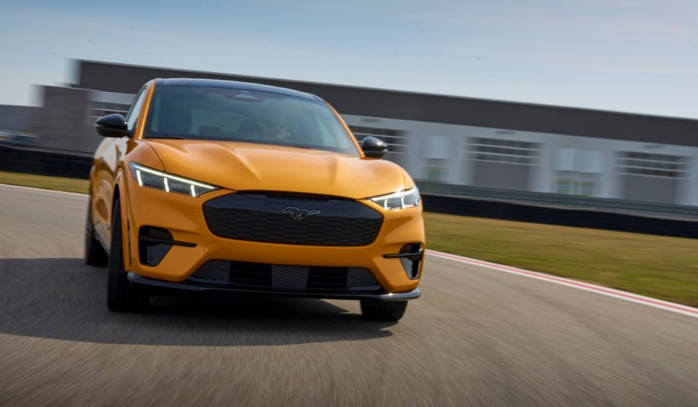 2021 Ford Mustang Mach-E GT in Cyber Orange on track
