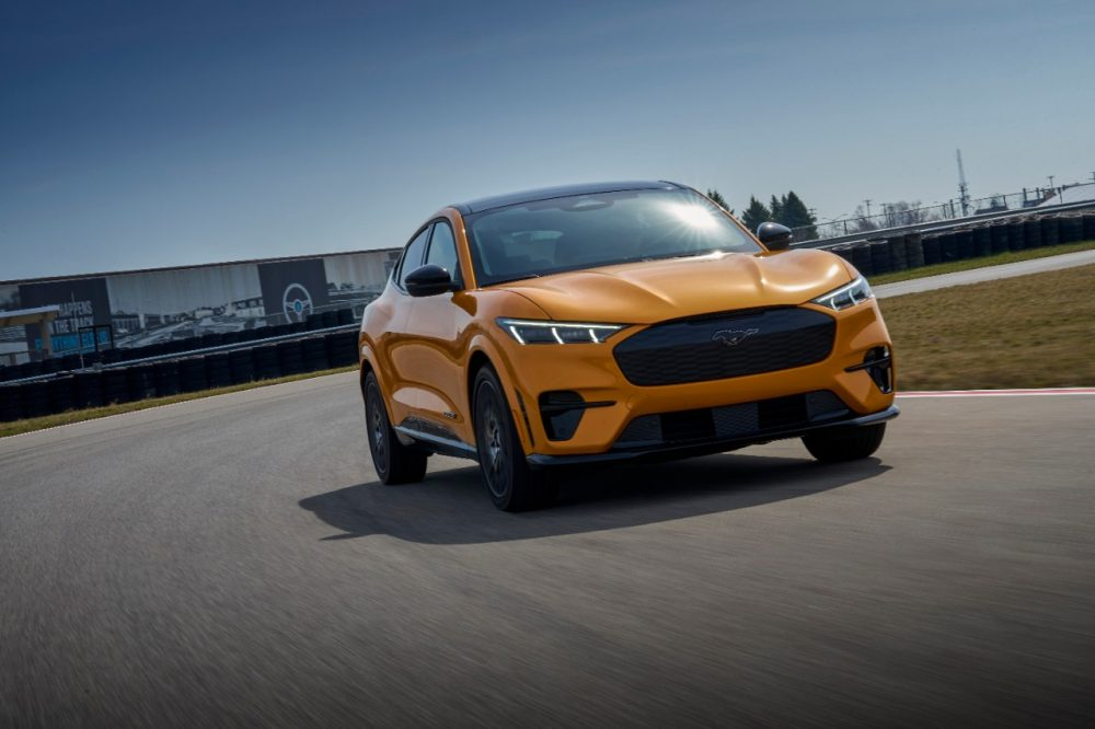 2021 Ford Mustang Mach-E GT in Cyber Orange action shot