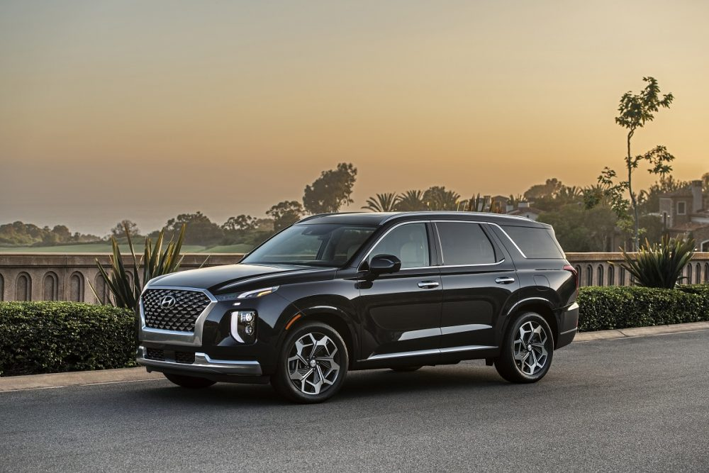 Front side view of 2021 Hyundai Palisade parked next to water