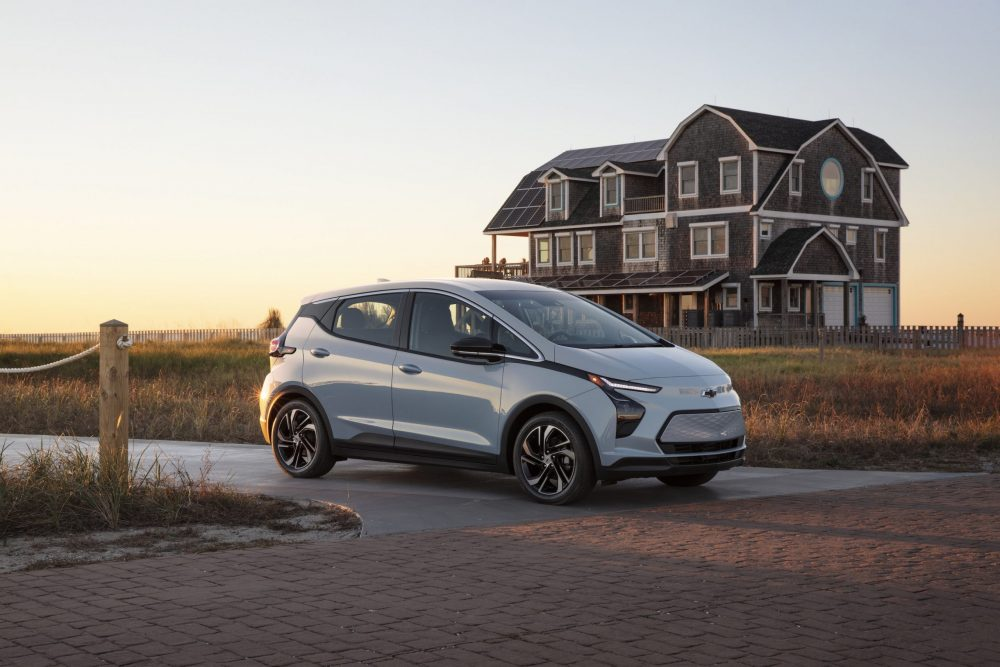 2022 Chevrolet Bolt EV in front of a house