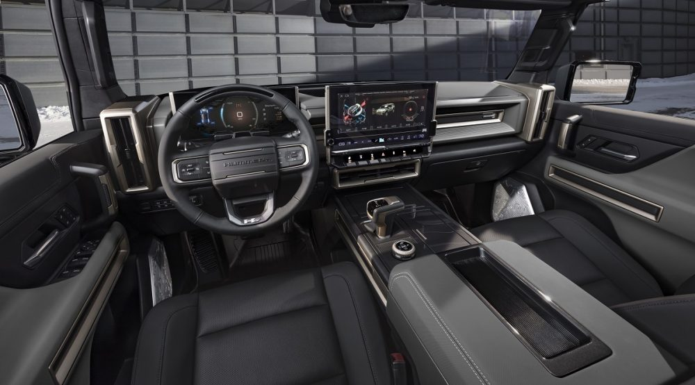 2024 GMC Hummer EV SUV front seats and dashboard