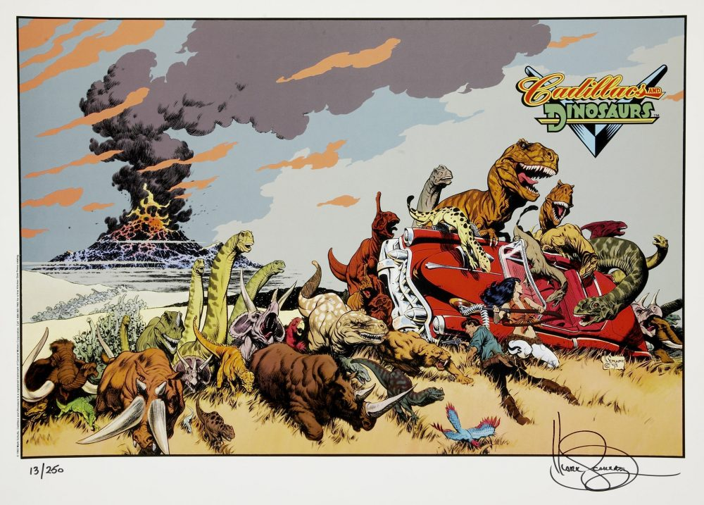 The artwork from 'Cadillacs and Dinosaurs'