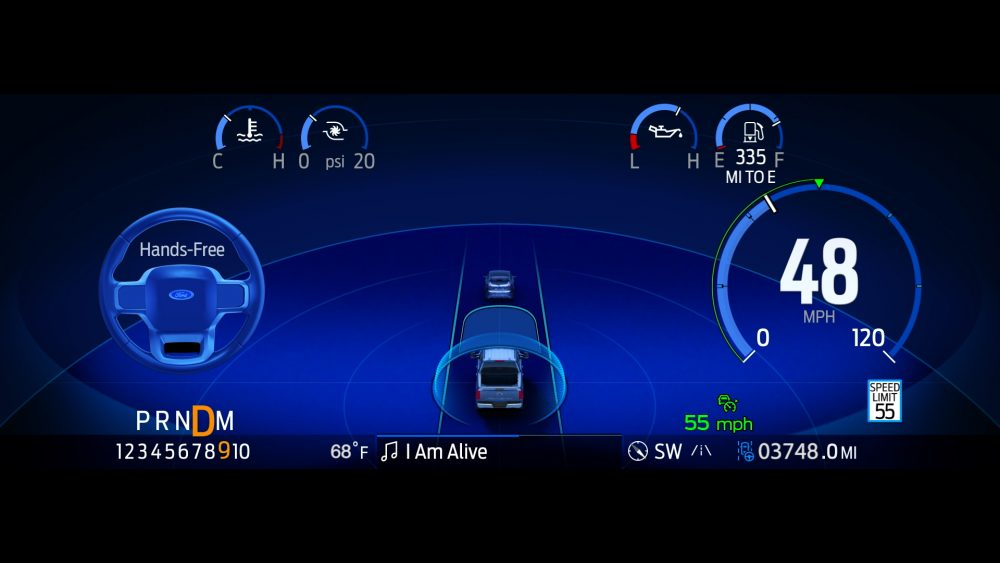 BlueCruise on the 2021 Ford F-150's digital instrument display