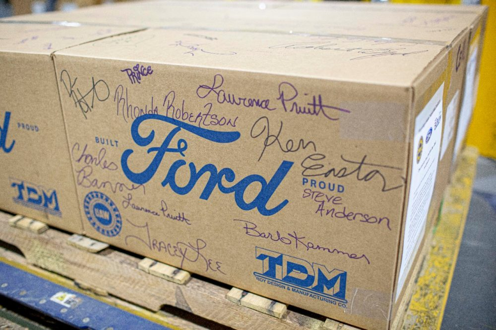 A signed box containing some of the last of the 120 million masks Ford donated during the pandemic