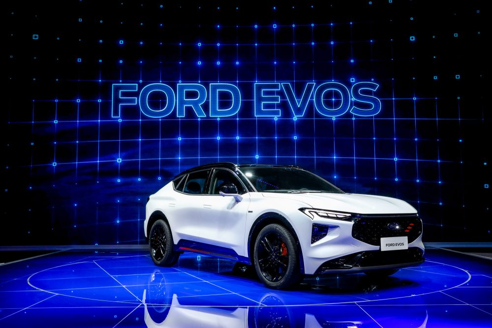 The Ford EVOS on stage at Auto Shanghai 2021