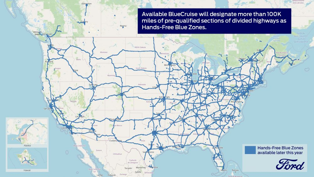 a map of the current network of Ford Hands-Free Blue Zones in North America