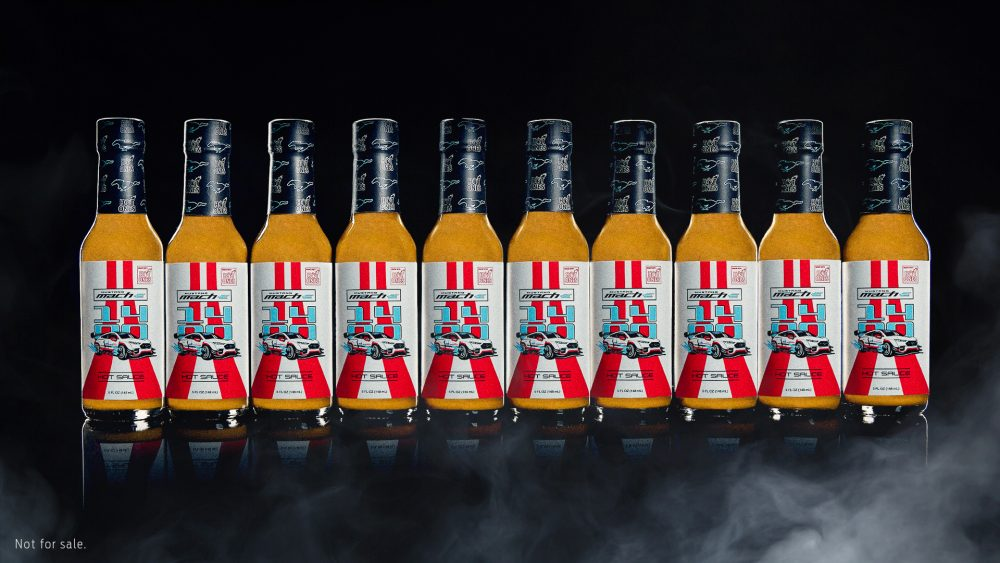 Mustang Mach-E 1400 hot sauce bottles
