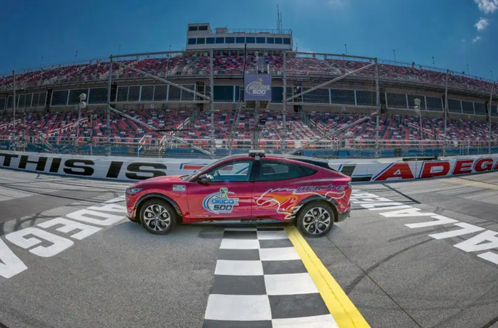 The Ford Mustang Mach-E made its NASCAR Cup Series debut as the pace car for the GEICO 500 at Talladega Superspeedway