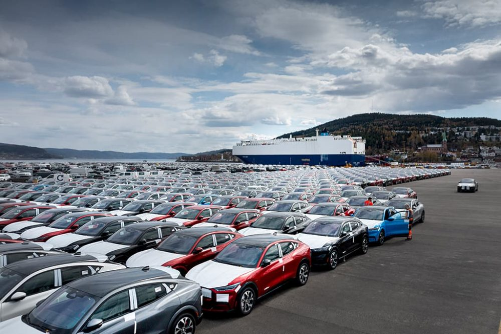 The first shipment of 953 Mustang Mach-E EVs arrived in Norway in April