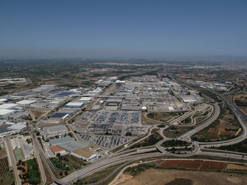 An aerial shot of the Ford Valencia manufacturing plant in Spain