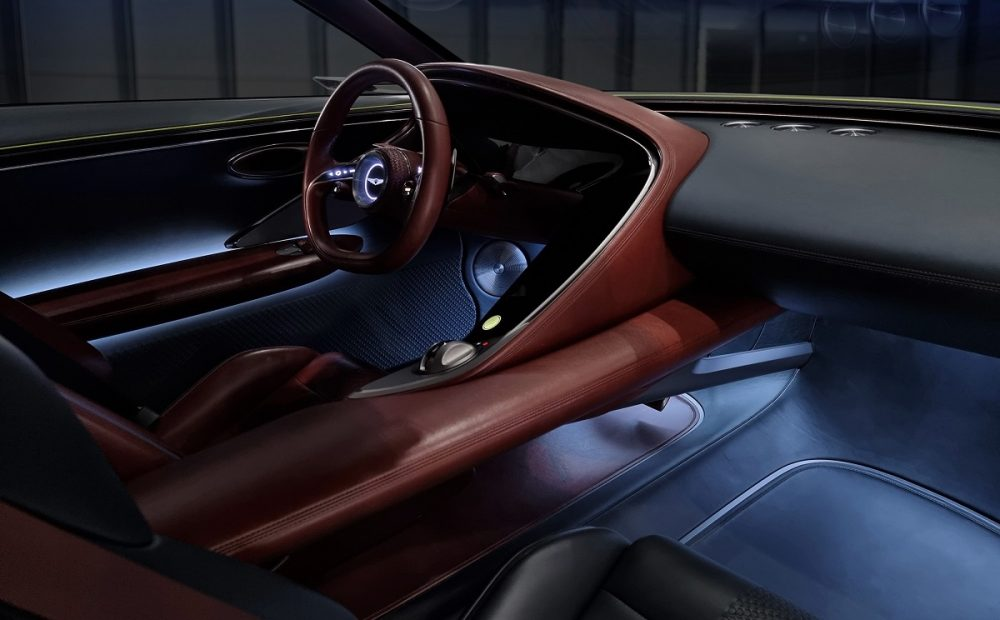 Genesis X Concept steering wheel, dashboard, and driver's seat