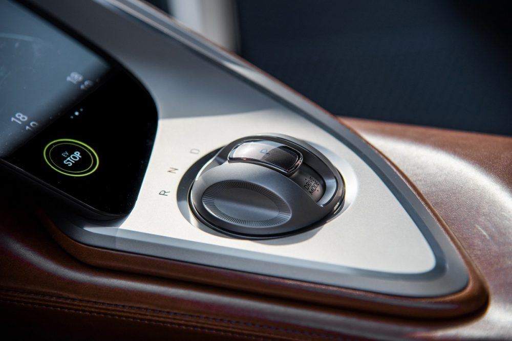 Genesis X Concept crystal sphere electronic shift lever on console