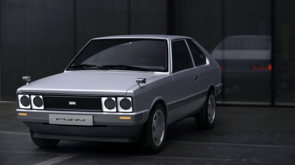 Front side view of Hyundai Heritage Series Pony concept