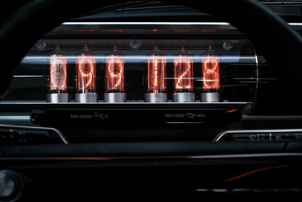 Close-up of vacuum tube instrument panel in Hyundai Heritage Series Pony concept