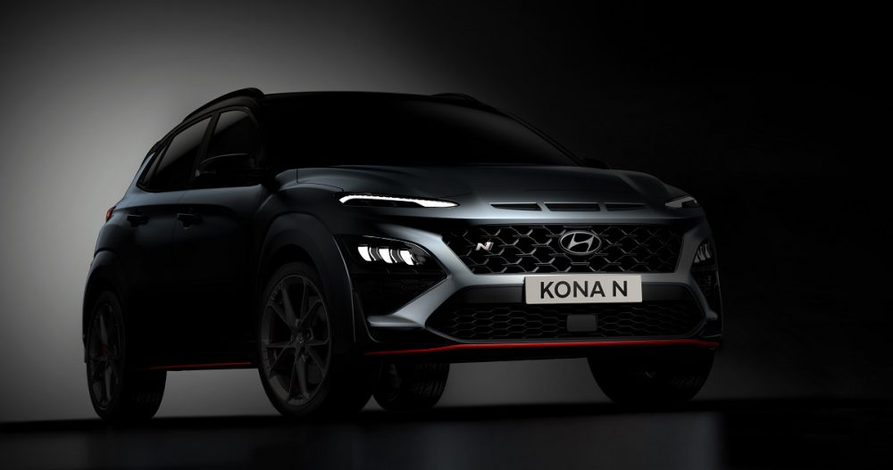 Shadowy front side view of Hyundai Kona N