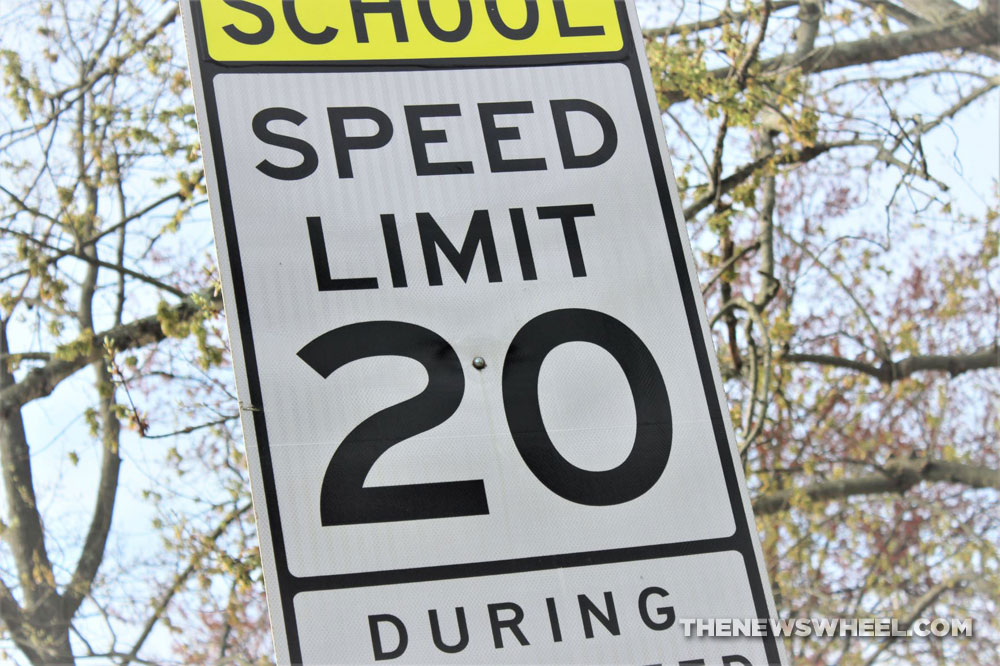 Speed Limit Sign in school zone showing 20 mph