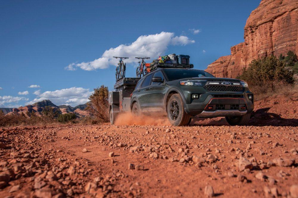 2021 Ford Explorer Timberline driving in desert