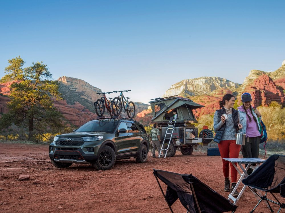 2021 Ford Explorer Timberline set up at camping site with accessories