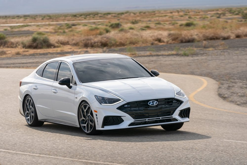 Front side view of 2021 Hyundai Sonata N Line cornering on track
