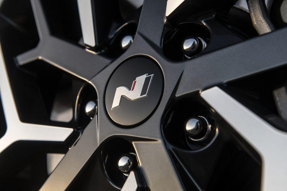 Close-up of 2021 Hyundai Sonata N Line wheel
