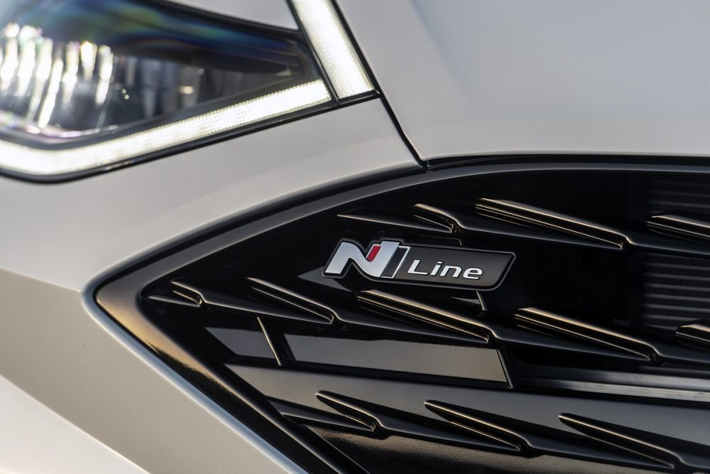 Close-up of 2021 Hyundai Sonata N Line grille badging