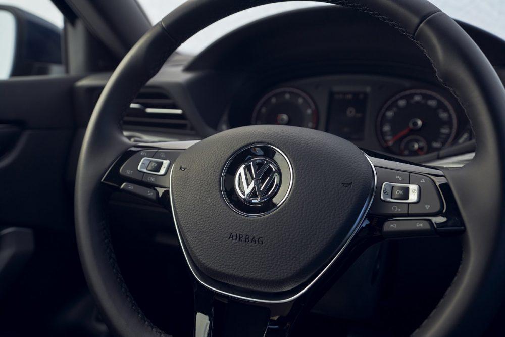 Close up view of 2021 Volkswagen Passat steering wheel