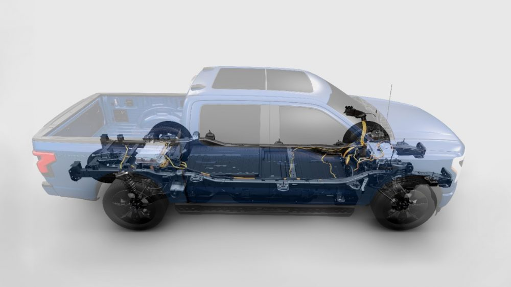 Transparent view of 2022 Ford F-150 Lightning two-motor, four-wheel-drive system