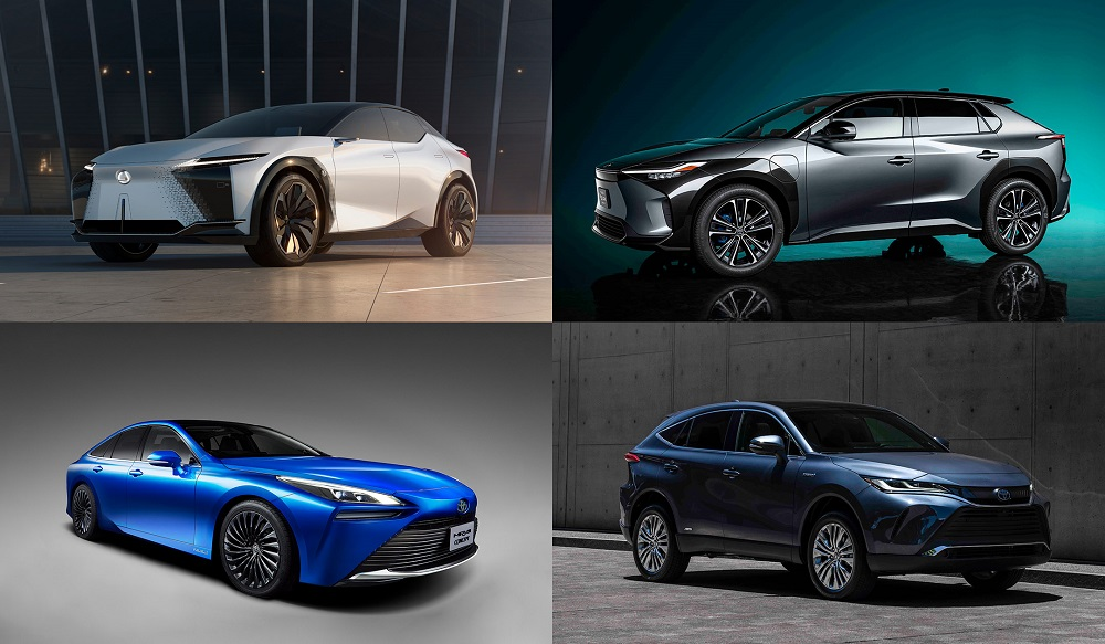 Collage of electrified Toyota vehicles