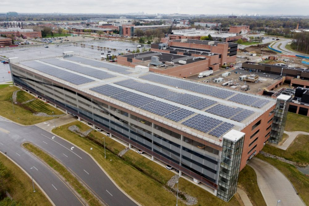 DTE Energy building a 2,159-panel solar array atop the parking garage at the Ford Research & Engineering Center in Dearborn, Michigan