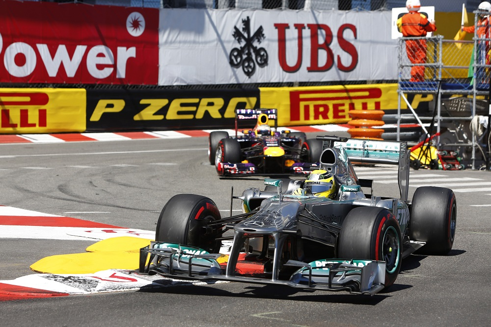 Nico Rosberg leads Sebastian Vettel at the 2013 Monaco Grand Prix