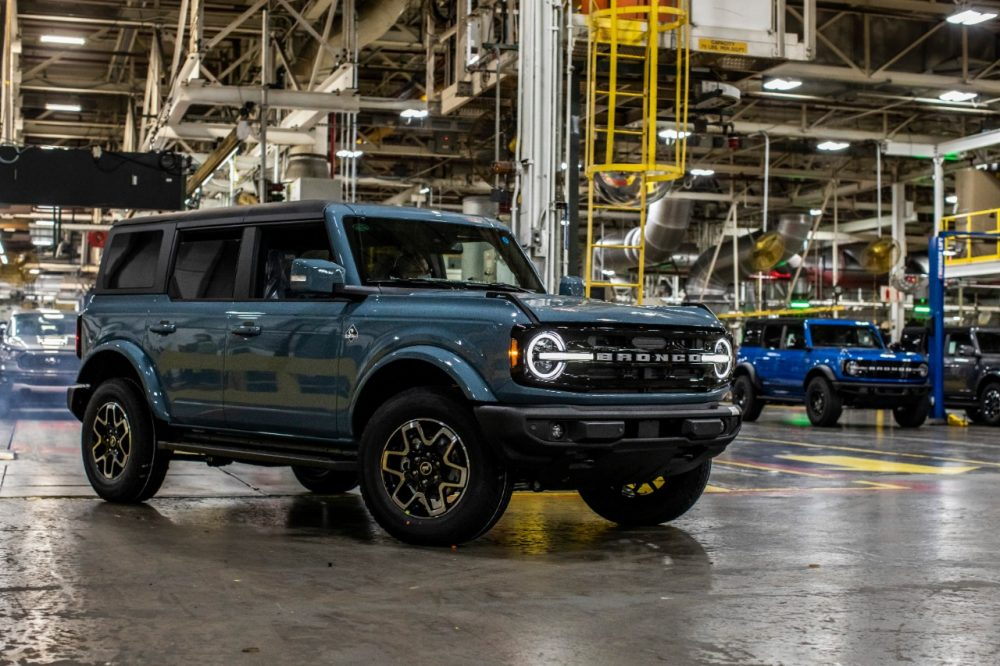 A Ford Bronco four-door in Michigan Assembly Plant