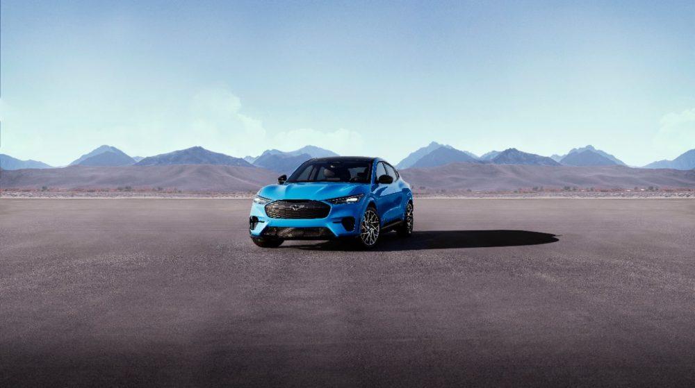 2021 Ford Mustang Mach-E GT in Grabber Blue in the desert