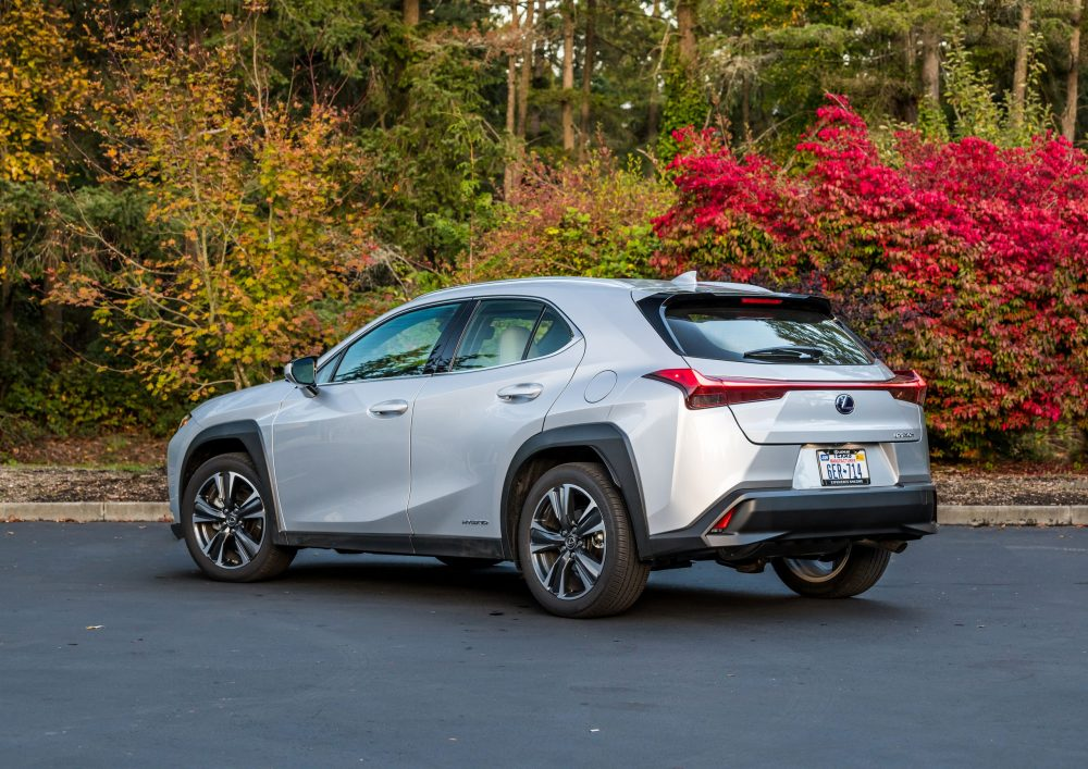 Back-angle view of silver 2021 Lexus UX