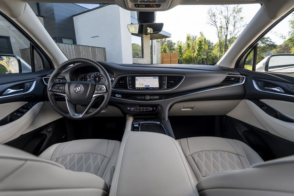 2022 Buick Enclave front seats, dashboard, and steering wheel