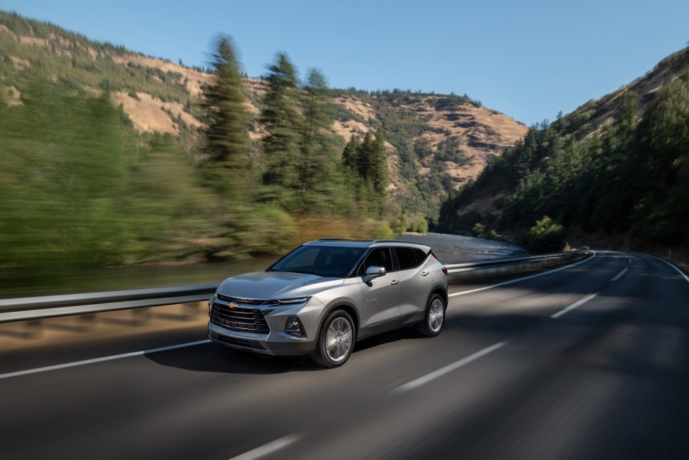 2022 Front side view of Chevrolet Blazer Premier driving on mountain road