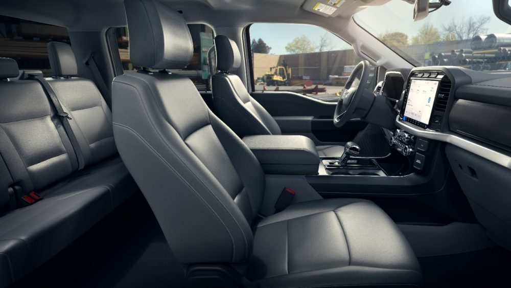 2022 Ford F-150 Lightning Pro interior seats and touch screen