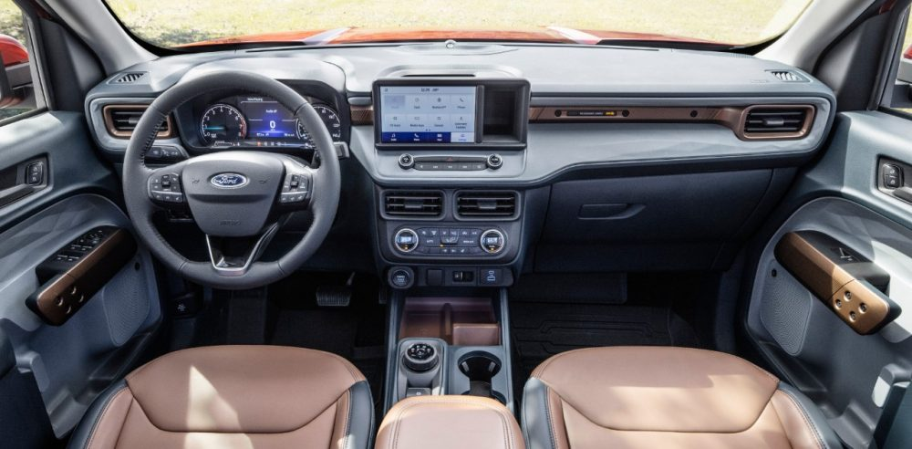2022 Ford Maverick Lariat with 2.0-liter EcoBoost AWD Desert Brown interior with ActiveX front bucket seats center console