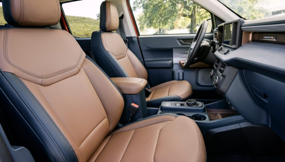 2022 Ford Maverick Lariat with 2.0-liter EcoBoost AWD Desert Brown interior with ActiveX front bucket seats