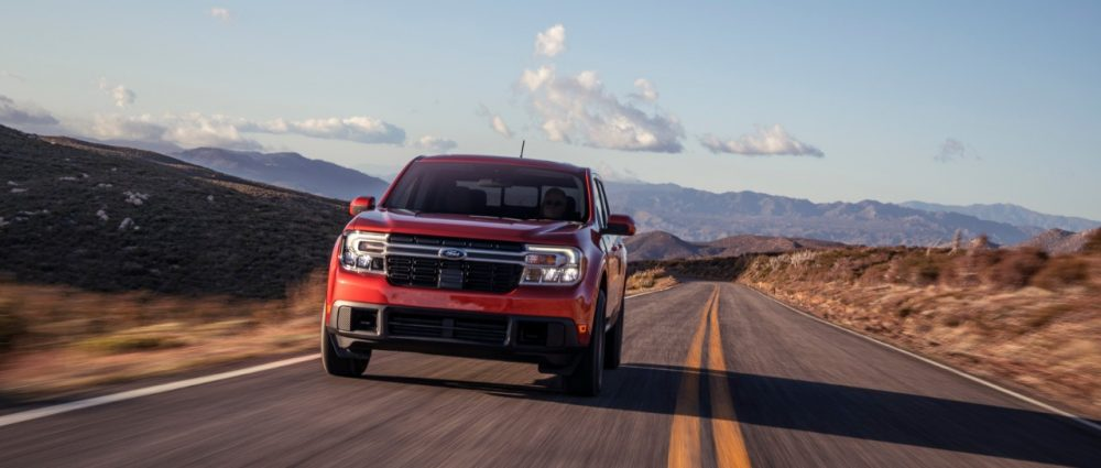 2022 Ford Maverick Lariat with 2.0-liter EcoBoost AWD in Hot Pepper Red