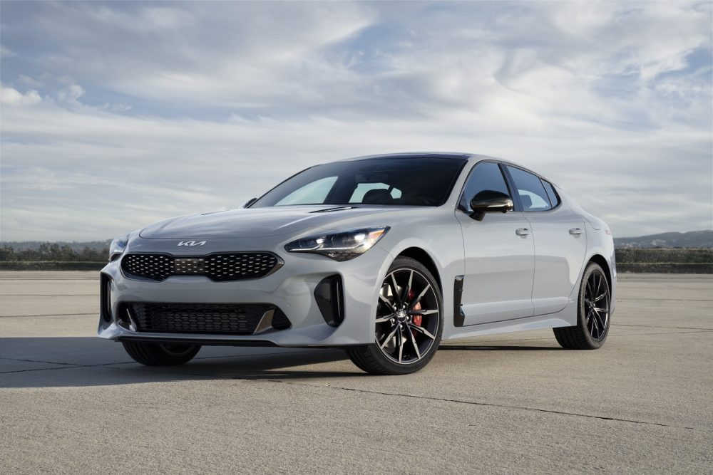 Front, angled view of the 2022 Kia Stinger Scorpion Special Edition in Ceramic Silver