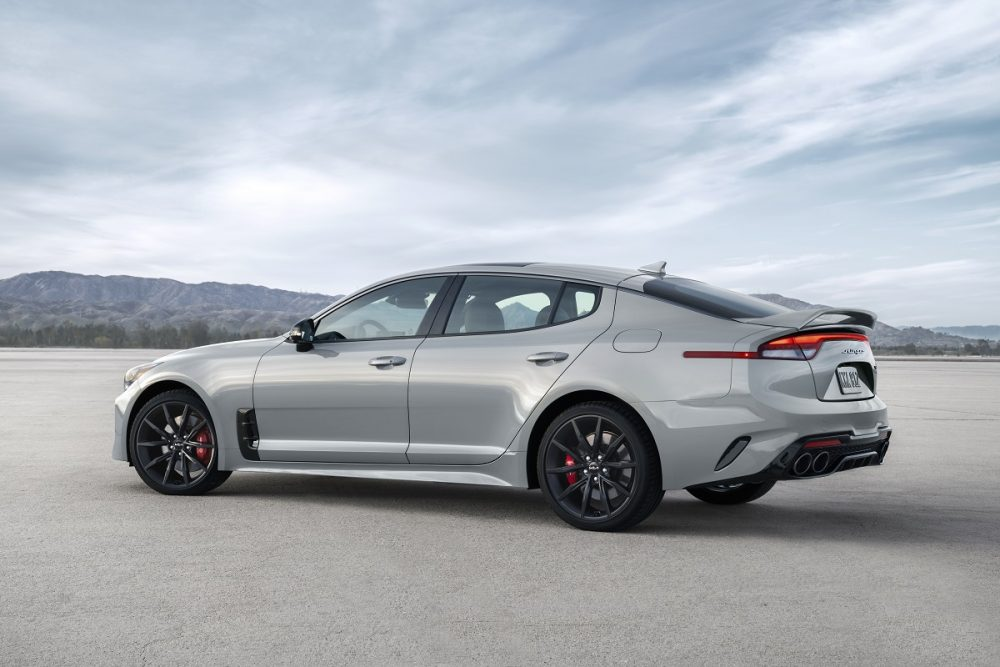 Side view of the 2022 Kia Stinger Scorpion Special Edition in Ceramic Silver