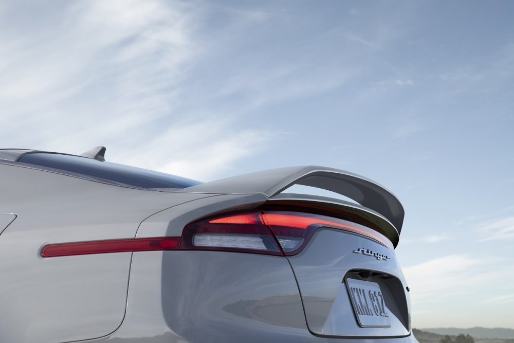 Close up view of rear spoiler on the 2022 Kia Stinger Scorpion Special Edition in Ceramic Silver
