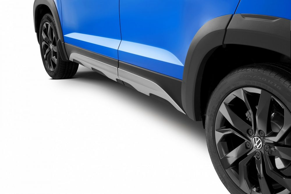 Close up photo of the 2022 Volkswagen Taos lower door side plates accessory